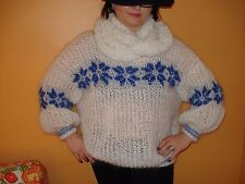White Hand Knitted Mohair Sweater Icelandic  Pullover  M L XL