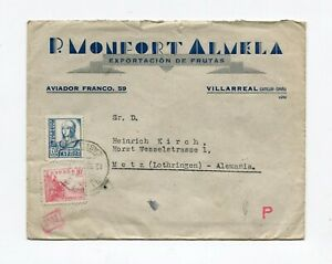 !!! WWII, SPAIN, 1941 COVER TO METZ (FRANCE) DOUBLE CENSORSHIP