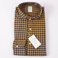 NWT $375 FINAMORE Navy Blue and Gold Check Cotton Shirt 15.5 x 35 Slim-Fit