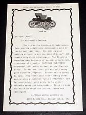 1903 OLD MAGAZINE PRINT AD, NATIONAL MOTOR VEHICLE CO, MODEL 100 ELECTRIC POWER!