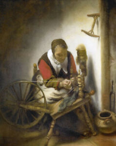 """Oil painting Nicolas Maes - Spinners old woman working with Spinning wheel 36"""""""