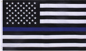 Thin Blue Line USA Flag Embroidered Stars Support Police Law Enforcement Cops