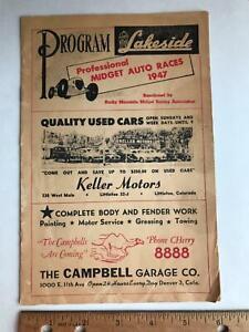 vtg 1947 Lakeside Colorado Midget Auto Racing Program Denver Rocky Mountain CO