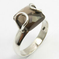 925 Fine Silver Natural Brown Smoky Quartz Ring Size 7 Women's Fashion Jewelry