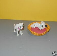 Disney 101 Dalmatians Dog Basket Bed PVC Figures Cake Toppers Oddball & Penny