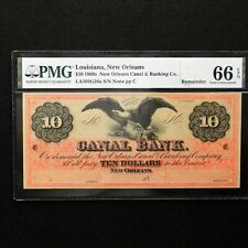 $10 1860's Canal Bank- Louisiana, New Orleans, PMG 66 EPQ Gem Unc, LA105G26a