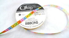 """8 Yards Offray Ribbon Numbers 1-5 Pattern Multi-Color 3/16"""" Wide"""