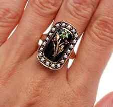 Antique Ruby Tsavorite Onyx Seed Pearl 9K Gold Flower Ring 7.2 Grams