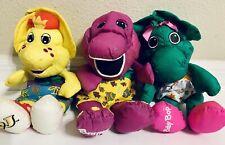 "Barney And Friends Nylon Plush Lot 12"" Playskool  BJ Barney Baby Bop"
