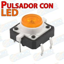 Pulsador NO 12x12x7mm con LED NARANJA - Arduino Electronica DIY