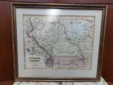 Framed Antique Map Nebraska and Kansas Kanzas J.H. Colton 1855