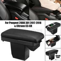 Accoudoir Central Boîte Rangement surpiqûre Noir pour Peugeot 2008 301