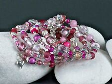 Handmade Boho Style Pink and Silver Beaded Wrap Memory Wire Bracelet