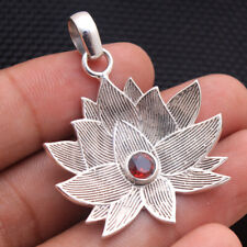 Faceted Garnet Designer Lotus Flower Pendant 925 Sterling Silver Jewelry