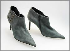 ECLIPSE LUXE WOMEN'S ANKLE HIGH GREY ZIP UP SUEDE HEELS BOOTS SIZE 7 AUST 38 EUR