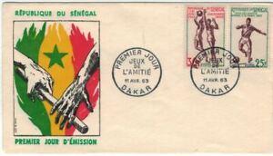 ENVELOPPE + 2 TIMBRES 1er JOUR 1963 SÉNÉGAL - FOOTBALL & BASKET