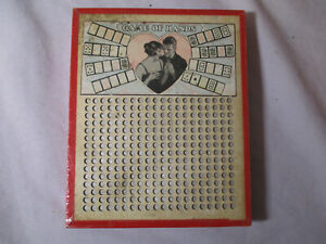 """Vintage c 1920's PUNCHBOARD """"GAME OF HANDS"""" Poker Cards - Romance 5x6"""" # 1891"""