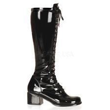 "Funtasma Shiny Black 2"" Heel Retro Lace Up Gogo Boots 6 7 8 9 10 11 12 13 14"