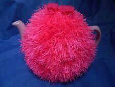 Funky fluffy tea cosy hand knitted in Wales HOT PINK please see size guide