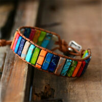 Multi Color 7 Chakra Bracelet Handmade Natural Tube Beads Stone Leather Braided