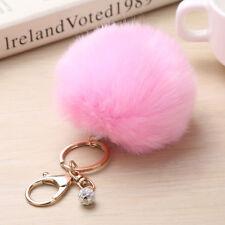 Cute Soft Fur Faux Rabbit Key Chain Pompon Cat Ears Bag Keychains ]Pendant
