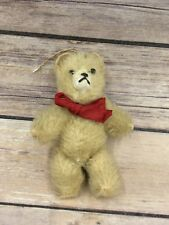 """Vintage String Jointed Glass Eyed Wool Plush Teddy Bear 4.5"""""""
