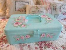 Shabby Chic Hand Painted Roses - Sewing/Craft Box