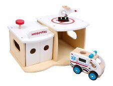 Legler Krankenhaus Holzspielzeug Krankenstation mit Garage und Landeplatz