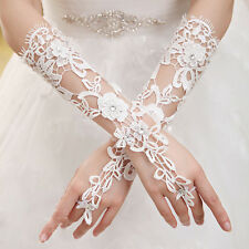 Women Wedding Bridal Bride Party White Lace Floral Bride Fingerless Gloves