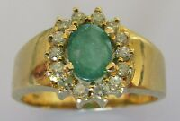 Secondhand 14ct yellow gold oval emerald round diamond cluster ring size S.