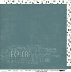 Heidi Swapp Double Sided 12x12 Pattern Scrapbook Paper Wolfpack Explore 2 Sheets
