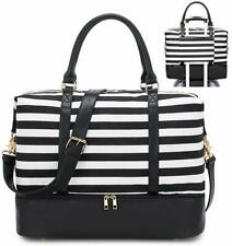 Travel Weekender Bag Canvas Overnight Carry on Shoulder with shoes compartment