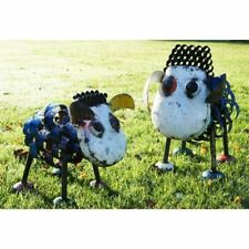 """""""Brecknock Hill"""" Recycled Oil Drum Garden Sheep Sculptures - Full Set of Two"""