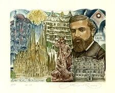 Spanish  Architect Antoni Gaudi, Architecture Ex libris Etching by S. Kirnitskiy