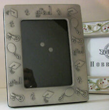 Silver Pewter Glass Glad Graduation Cap Diploma Picture Photo Frame Ornate Gift