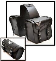 LOT sacoche Cavaliére + sacoche de fourche en Cuir modèle Aigle pour moto custom