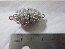 Silver Crystal Rhinestone Magnetic Oval Clasp 33mm