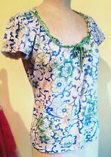 Ladies Nude/Blue/Green Sequined Floral Top by John Rocha at Debenhams. Size 12