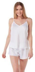 Ladies New Satin Reversible Adjustable Strap White Camisole Top 12-20