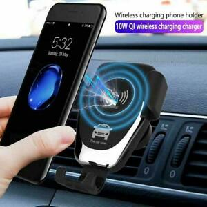 2in1 Qi Wireless Automatic Car Charging Charger Mount Holder Phone Clamping Q9Q0