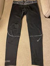 Men's Nike Pro Black Gray Compression Running Tights 2XL