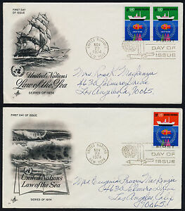 United Nations - New York 254-5 on addressed FDC's - Ships, Law of the Sea