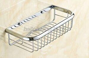 300mm Chrome Brass Wall Mount Kitchen Bathroom Shower Shelf Storage Basket