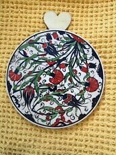 More details for beautiful vintage william morris style round ceramic painted tile signed sy
