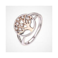 Sterling Silver & Rose Gold Plated Tree of Life Ring with White Stones