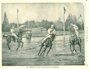 Publicité ancienne document concours de Polo à Bagatelle 1900 issue de magazine