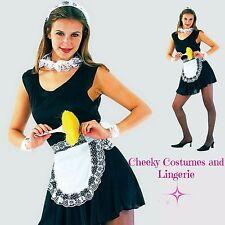 Mucama Francesa 5 PCE Negro Blanco Disfraz Vestido Delantal casco Puños Cuello Talla 8-12