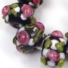 Lampwork Handmade Glass Pink Black Green White Flower Rondelle Beads (10)