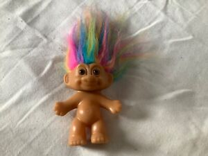 Vintage Russ Troll Doll with rainbow colored hair and no outfit