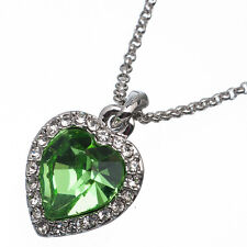 5.36 Ct Heart Cut Style Shape Green Emerald CZ 18K White Gold Plated Pendant